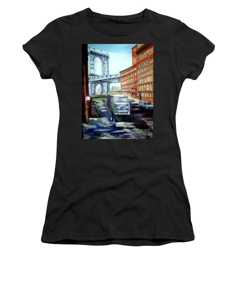 Dumbo Women's T-Shirt (Athletic Fit) featuring the painting Dumbo Bridge by Sandy Ryan