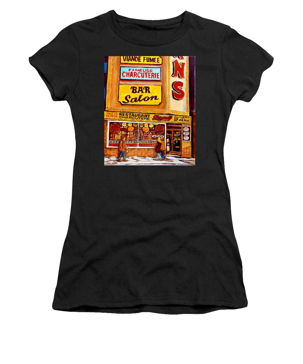 Dunn Women's T-Shirt (Athletic Fit) featuring the painting Dunn's Restaurant Montreal by Carole Spandau