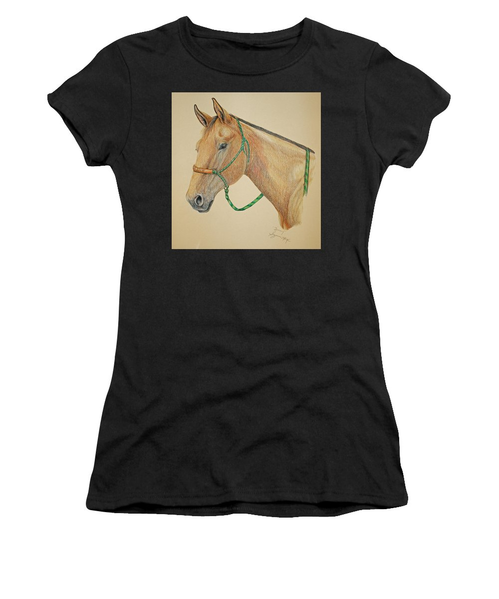 Equine Women's T-Shirt (Athletic Fit) featuring the drawing Dunny by Suzanne McKee