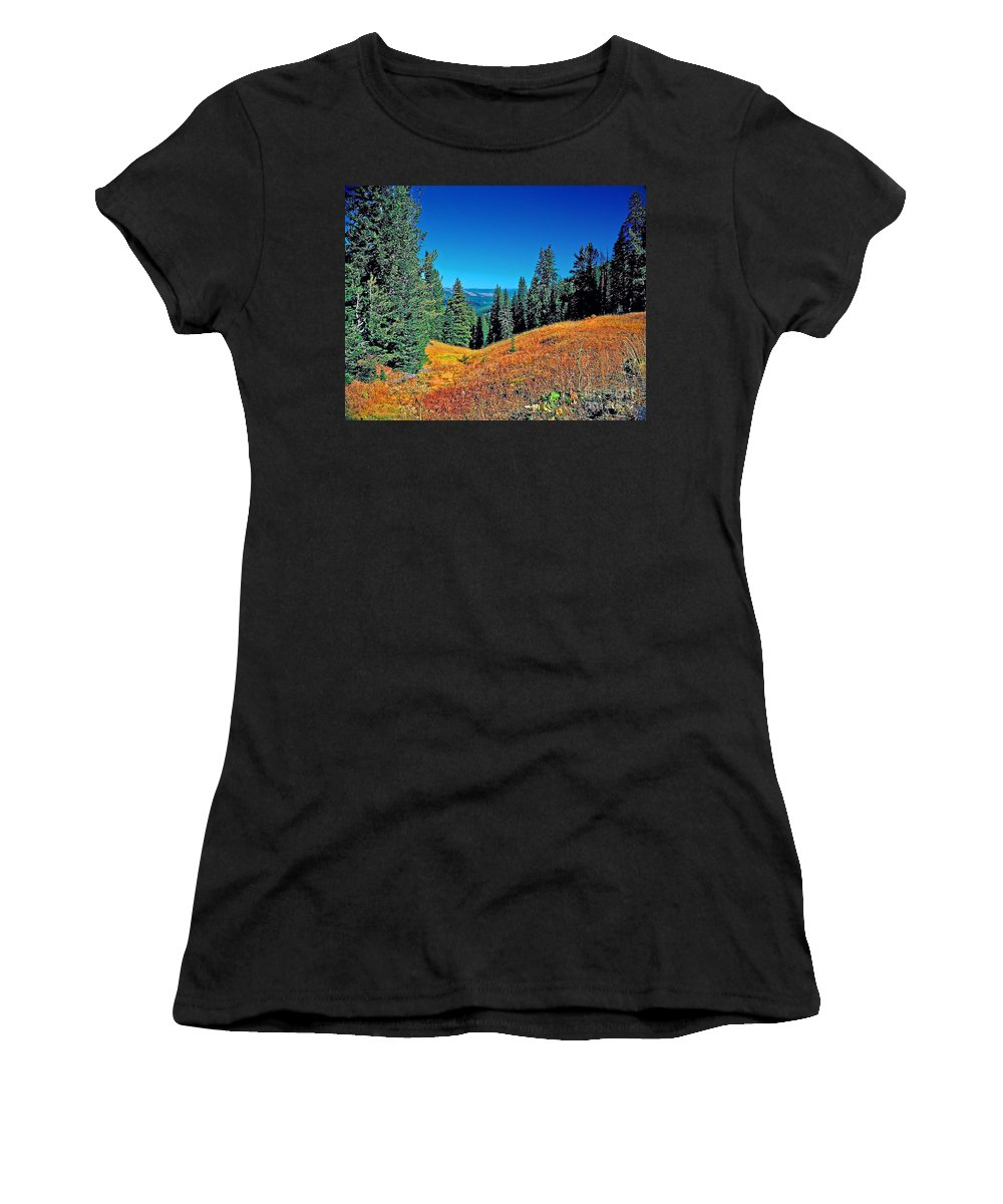 Wyoming Women's T-Shirt (Athletic Fit) featuring the photograph Dunraven Pass by Rich Walter