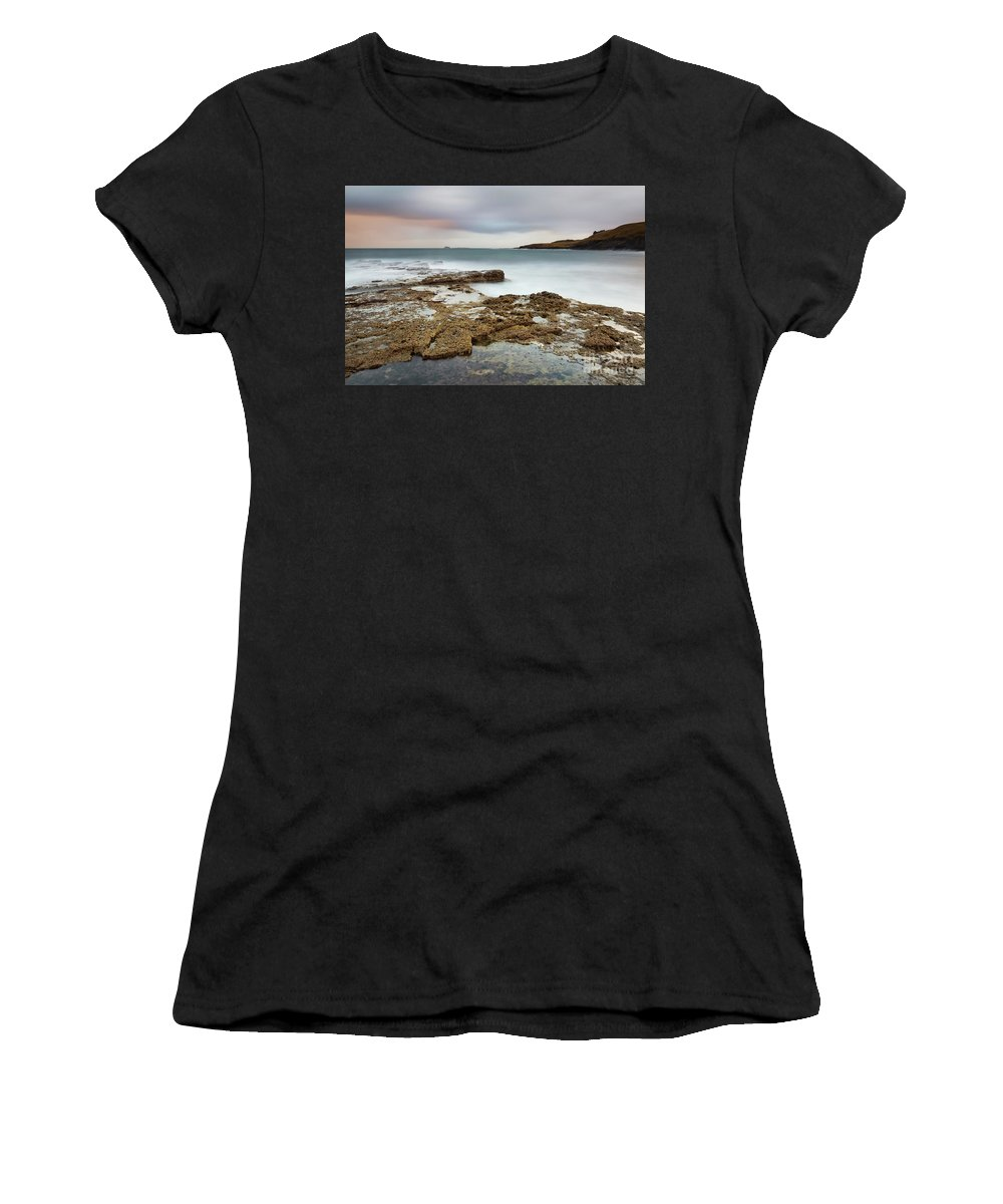 Seascape Women's T-Shirt (Athletic Fit) featuring the photograph Duntulm At Sunset by Tony Higginson