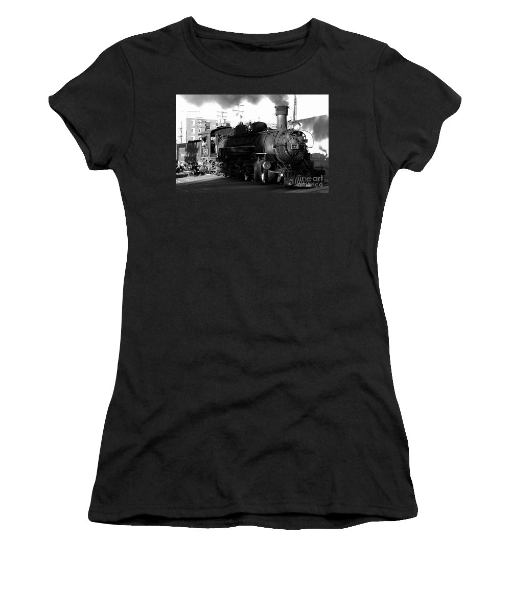 Durango And Silverton Railroad Women's T-Shirt (Athletic Fit) featuring the photograph Durango And Silverton by David Lee Thompson
