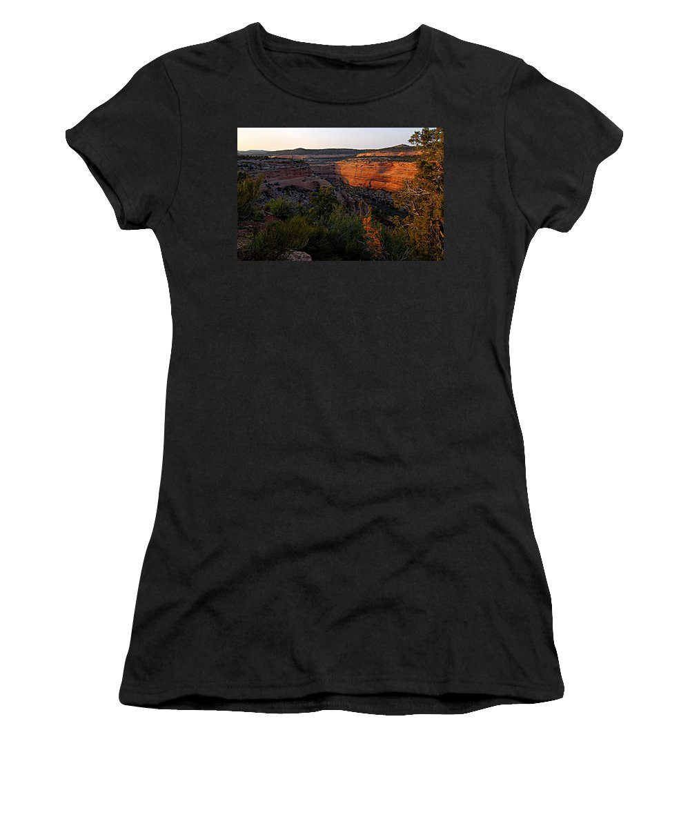 Colorado National Monument Women's T-Shirt (Athletic Fit) featuring the photograph Dusk At Colorado National Monument by Larry Ricker