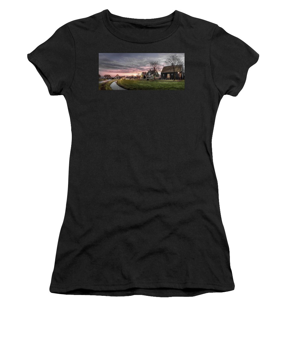 Amstel Women's T-Shirt (Athletic Fit) featuring the photograph Dusk In Zaanse Schans by Kaan Sensoy