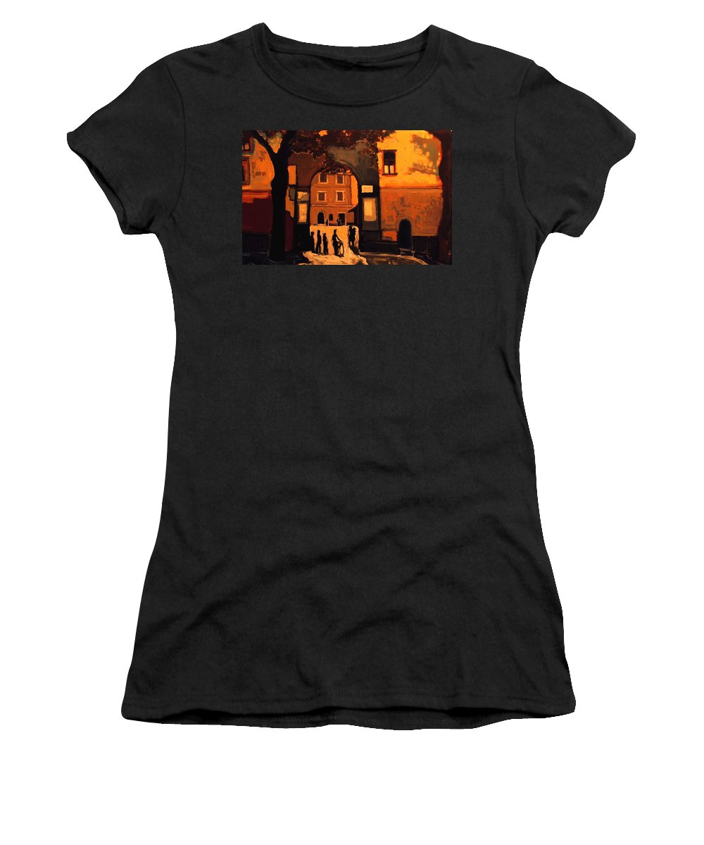 Cityscape Women's T-Shirt (Athletic Fit) featuring the painting Dusk by Kurt Hausmann