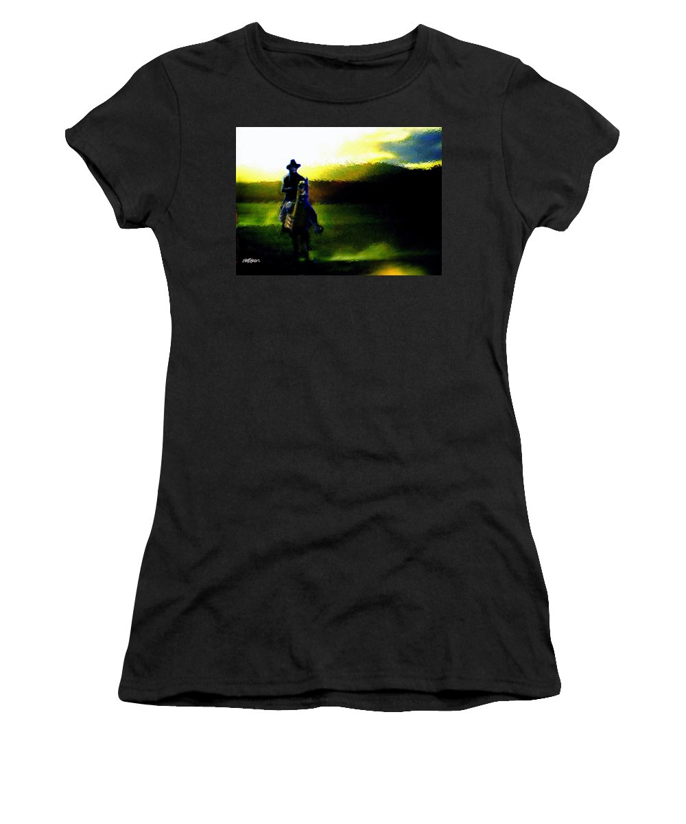Dusk Women's T-Shirt (Athletic Fit) featuring the digital art Dusk Rider by Seth Weaver