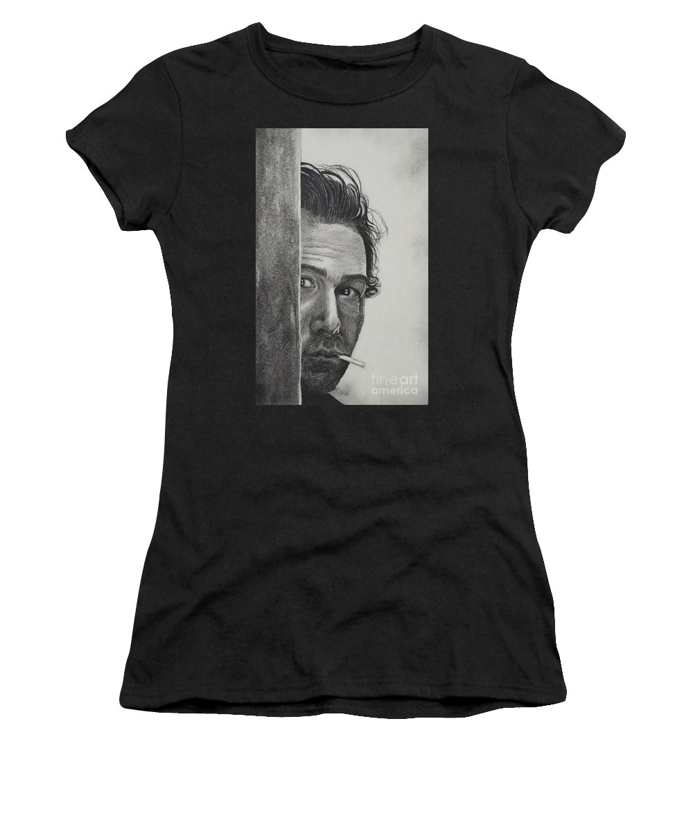 Portrait Women's T-Shirt featuring the drawing Dustin Hoffman by Lise PICHE