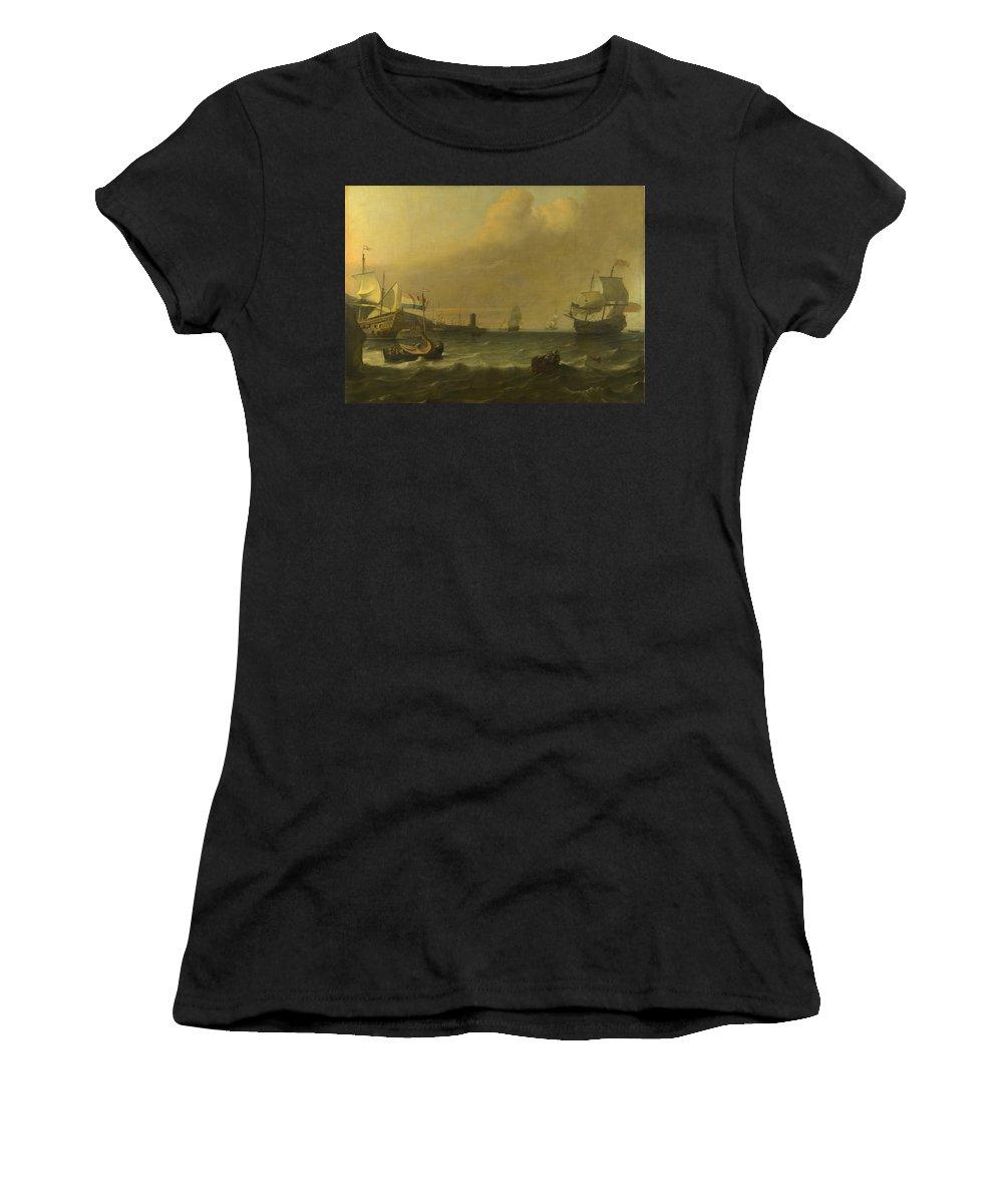 Ludolf Women's T-Shirt (Athletic Fit) featuring the digital art Dutch Men Of War Entering A Mediterranean Port by PixBreak Art