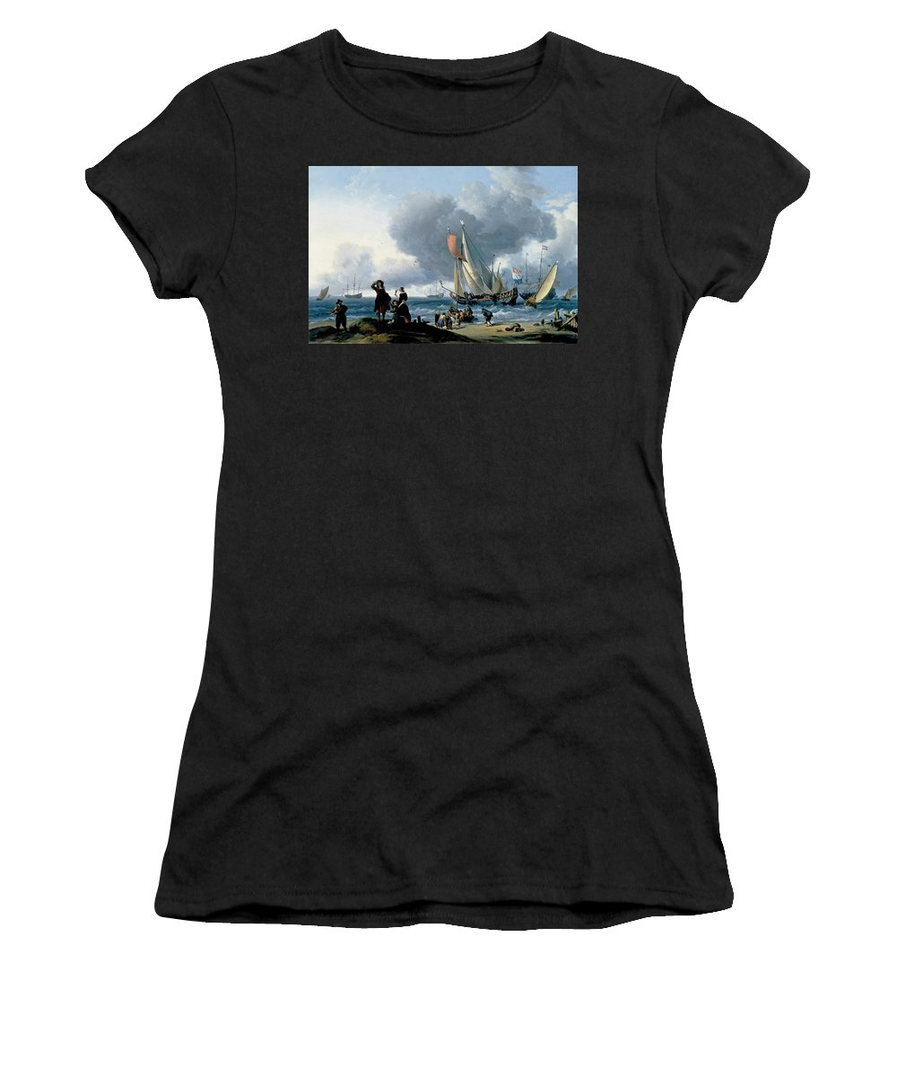 Ludolf Bakhuizen Women's T-Shirt (Athletic Fit) featuring the painting Dutchman Embarking Onto A Yacht by Ludolf Bakhuizen