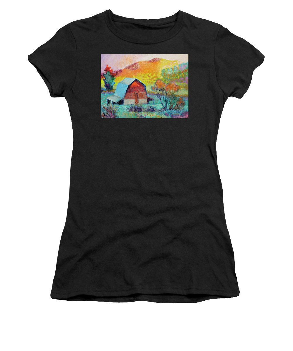 Landscape Women's T-Shirt (Athletic Fit) featuring the painting Dyeleaf Mountain Barn Sunrise by Lisa Blackshear