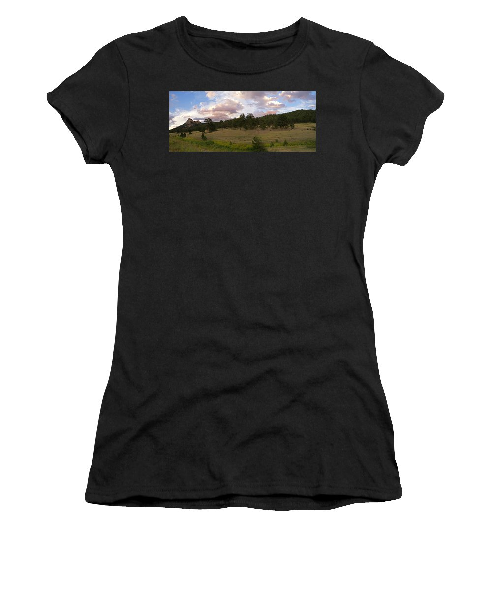Eagle Roick Women's T-Shirt (Athletic Fit) featuring the photograph Eagle Rock Estes Park Colorado by Heather Coen