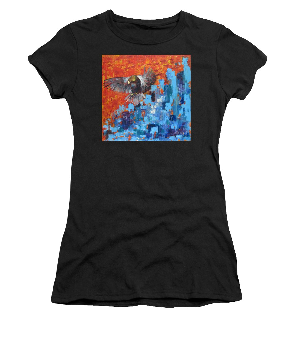 Nature Women's T-Shirt (Athletic Fit) featuring the painting Eagle by Stella Velka