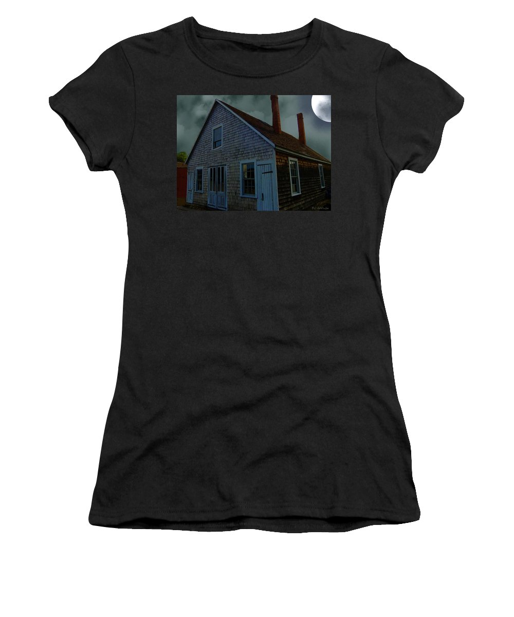 Autumn Women's T-Shirt (Athletic Fit) featuring the painting Early American Moonlight by RC DeWinter