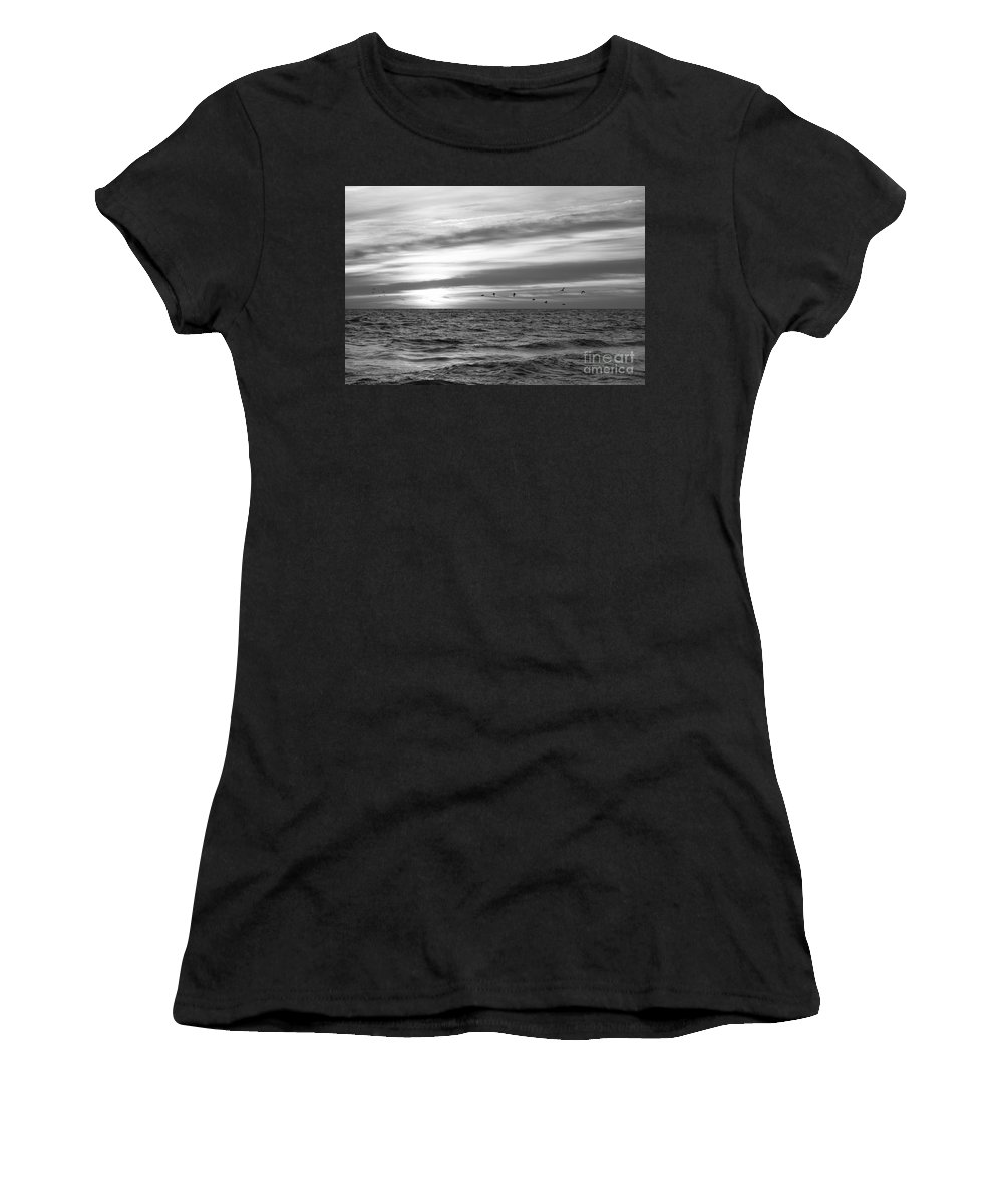 Early Bird Women's T-Shirt featuring the photograph Early Bird Bw by Michael Ver Sprill