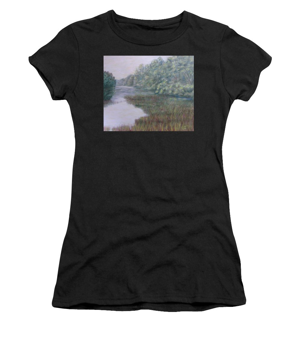 Pastel Women's T-Shirt (Athletic Fit) featuring the pastel Early Fall Serenity by Joann Renner