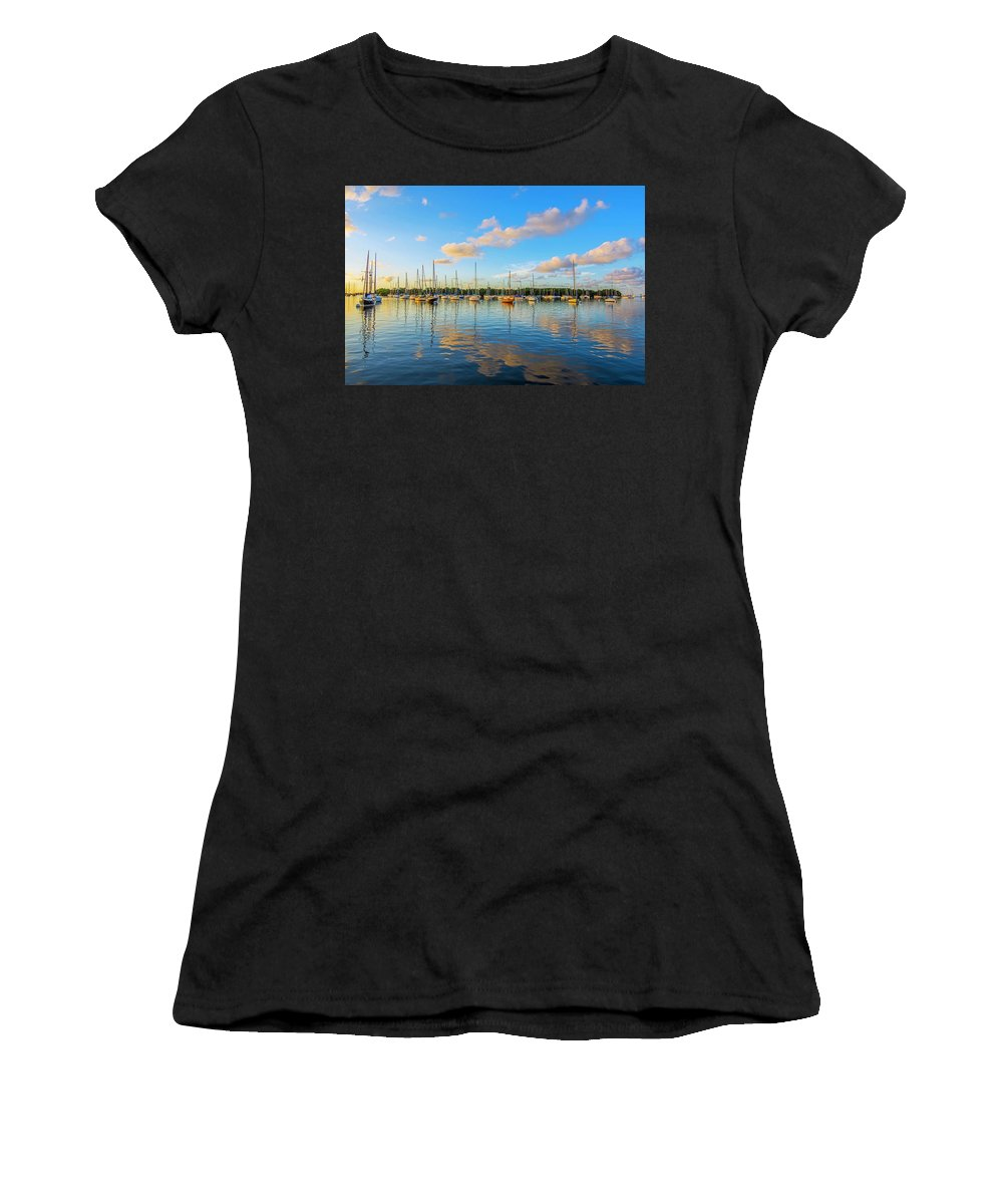 Sailboat Bay Women's T-Shirt (Athletic Fit) featuring the photograph Early Morning 8768 by Steve Lipson