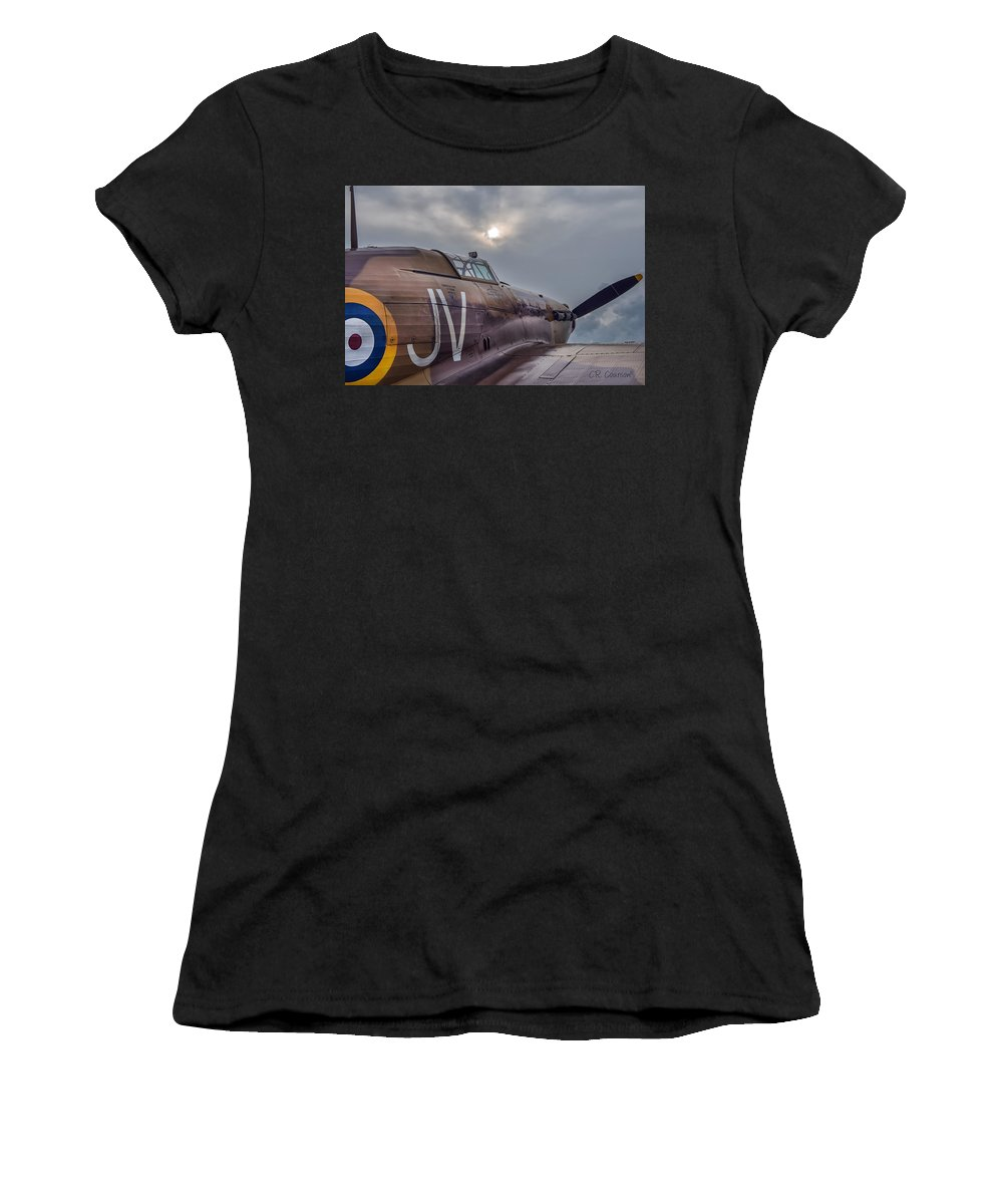 Hawker Hurricane Mk. Iv Women's T-Shirt (Athletic Fit) featuring the photograph Early Morning Hurricane by CR Courson
