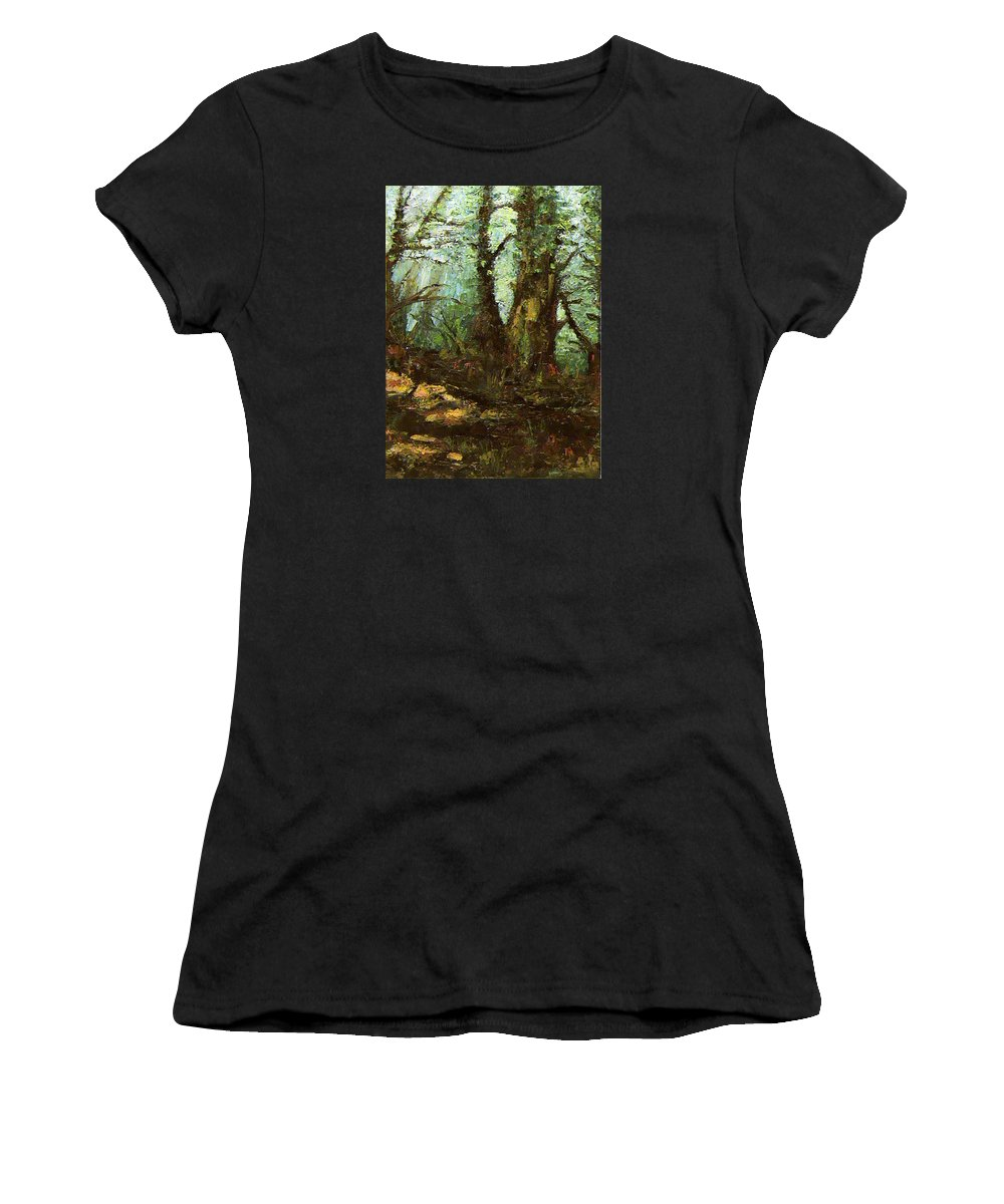 Landscape Women's T-Shirt (Athletic Fit) featuring the painting Early Morning In The Forest by Ioulia Sotiriou
