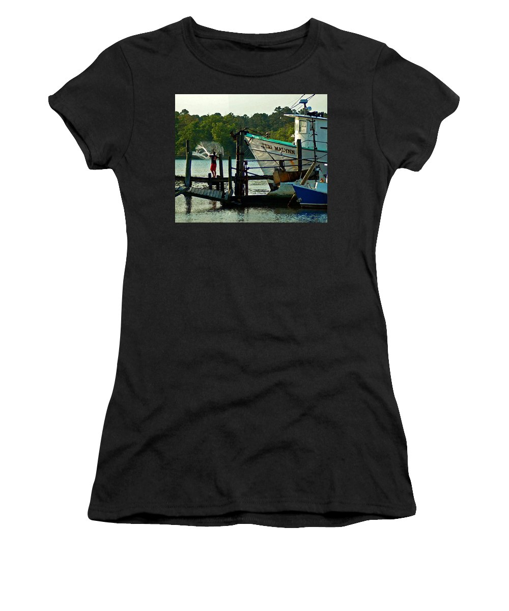Shrimp Boat Women's T-Shirt (Athletic Fit) featuring the painting Early Morning Net Toss by Michael Thomas