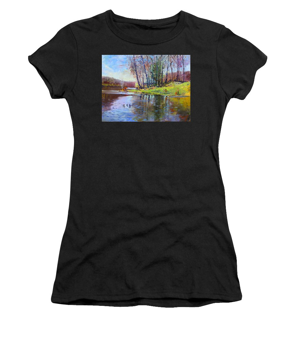 Landsape Women's T-Shirt (Athletic Fit) featuring the painting Early Spring In Bear Mountain by Ylli Haruni
