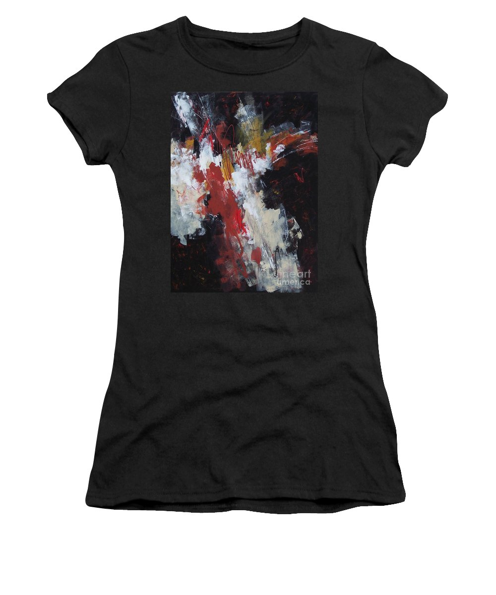 Abstract Expressionism Women's T-Shirt (Athletic Fit) featuring the painting Earth's Voice by Donna Frost