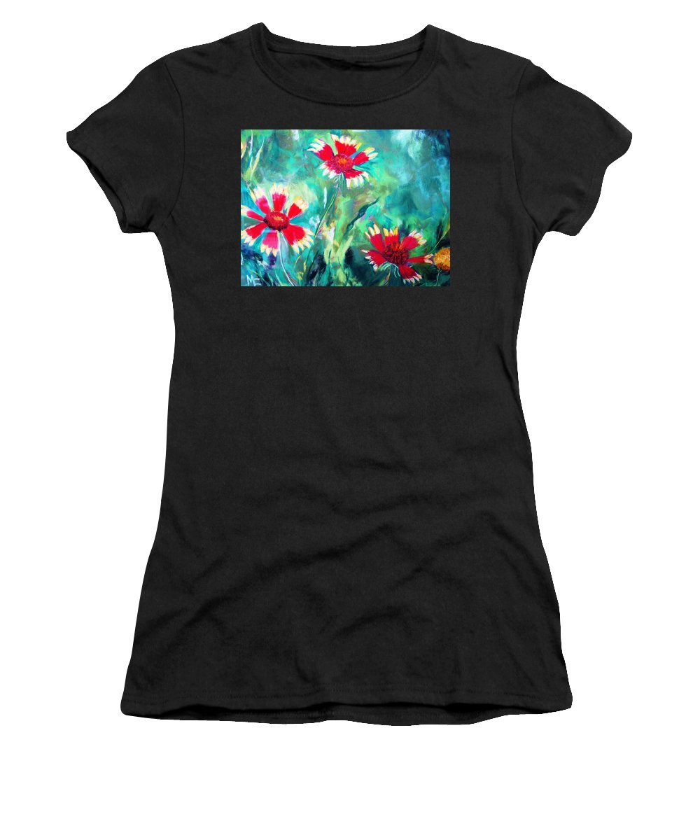 Flowers Women's T-Shirt (Athletic Fit) featuring the painting East Texas Wild Flowers by Melinda Etzold