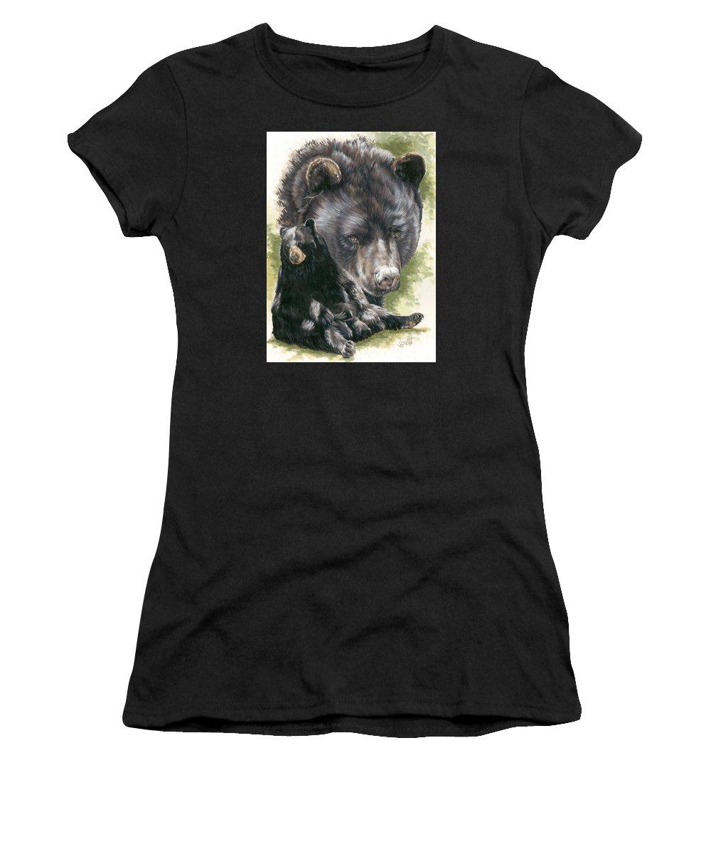 Black Bear Women's T-Shirt (Athletic Fit) featuring the mixed media Ebony by Barbara Keith