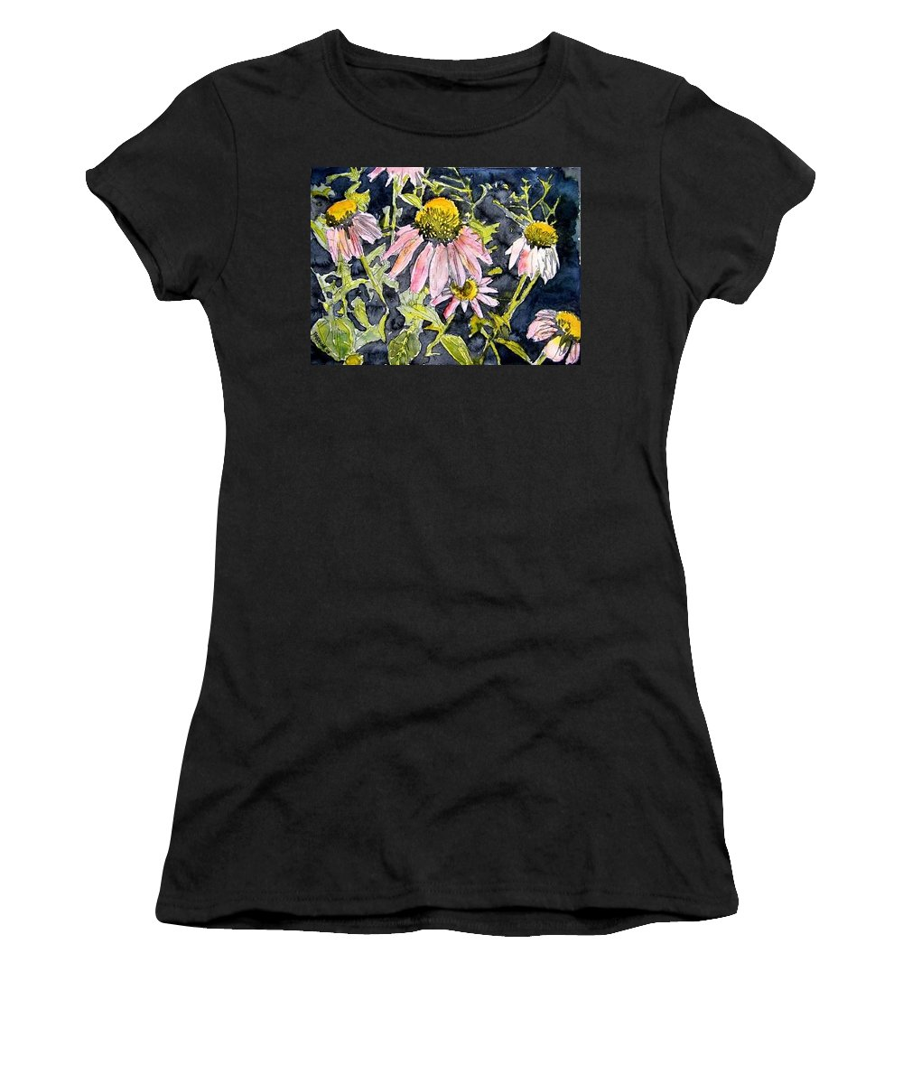 Echinacea Women's T-Shirt (Athletic Fit) featuring the painting Echinacea Coneflower 2 by Derek Mccrea