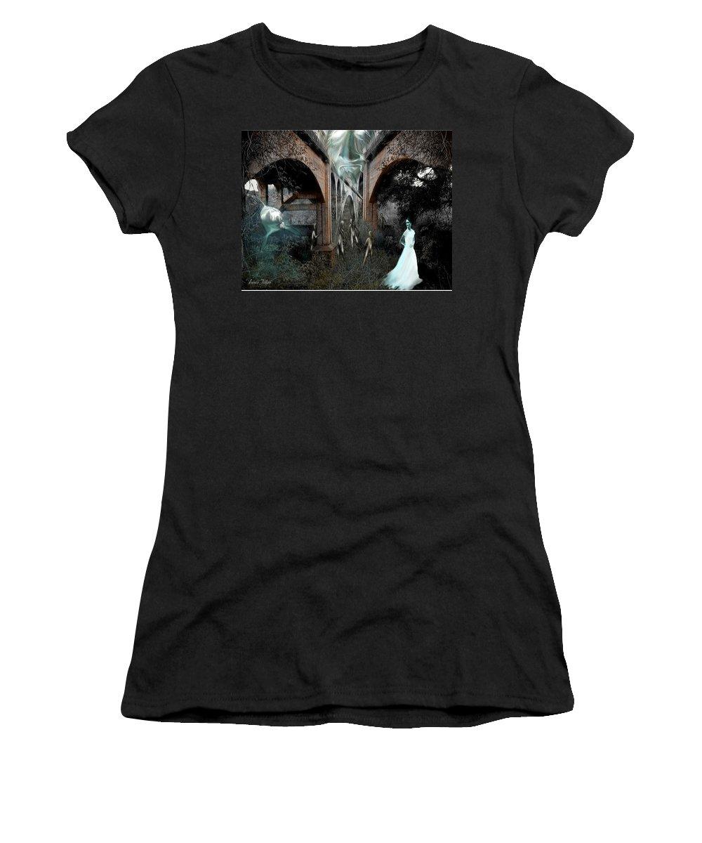 Eden Surreal Creatures Bridges Dreaming Women's T-Shirt (Athletic Fit) featuring the digital art Eden by Veronica Jackson