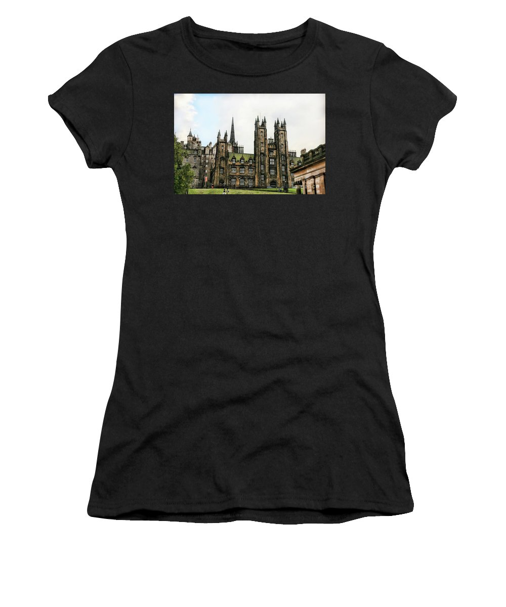 Scotland Women's T-Shirt (Athletic Fit) featuring the photograph Edinburgh Architecture 3 by Chuck Kuhn