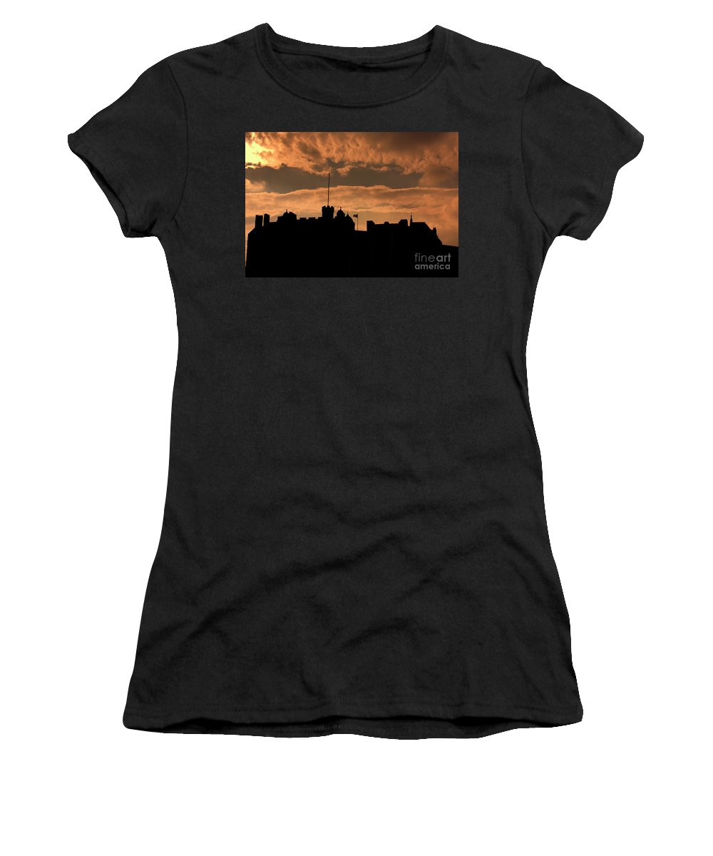 Scotland Women's T-Shirt (Athletic Fit) featuring the photograph Edinburgh Castle Silhouette by Chuck Kuhn