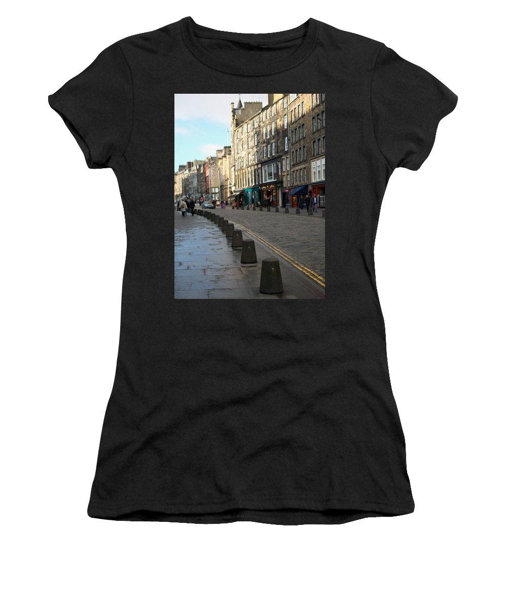 Scotland Women's T-Shirt (Athletic Fit) featuring the photograph Edinburgh Royal Mile Street by Munir Alawi