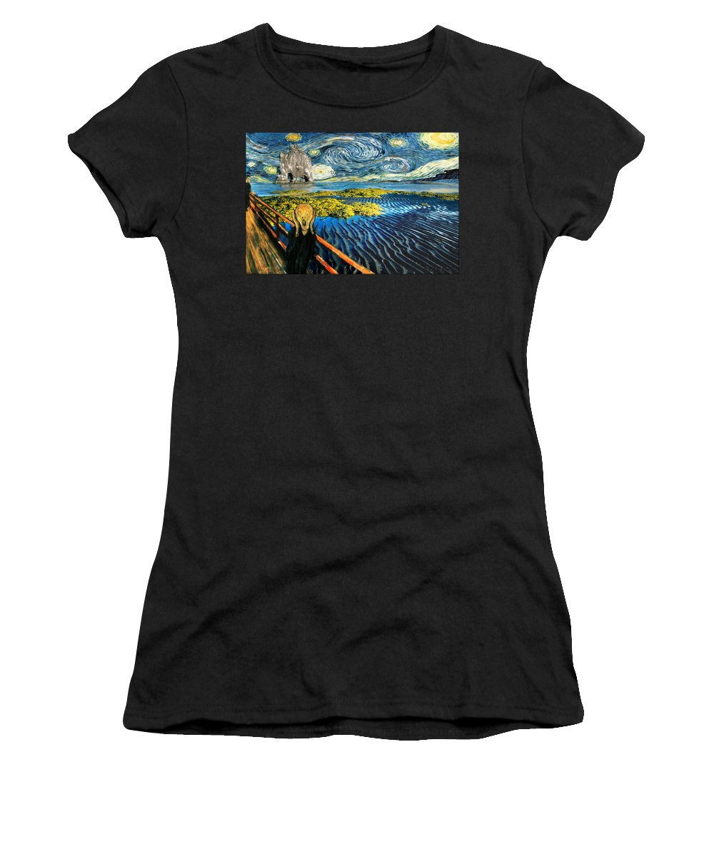 Van Gogh Women's T-Shirt (Athletic Fit) featuring the painting Edvard Meets Vincent Posters by Gravityx9 Designs