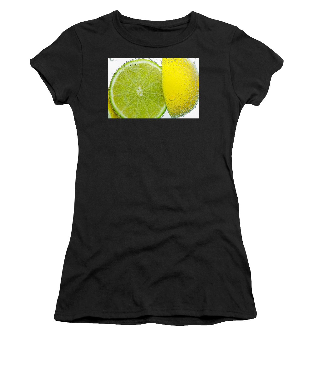 Photography Women's T-Shirt (Athletic Fit) featuring the photograph Effervescent Lime And Lemon By Kaye Menner by Kaye Menner