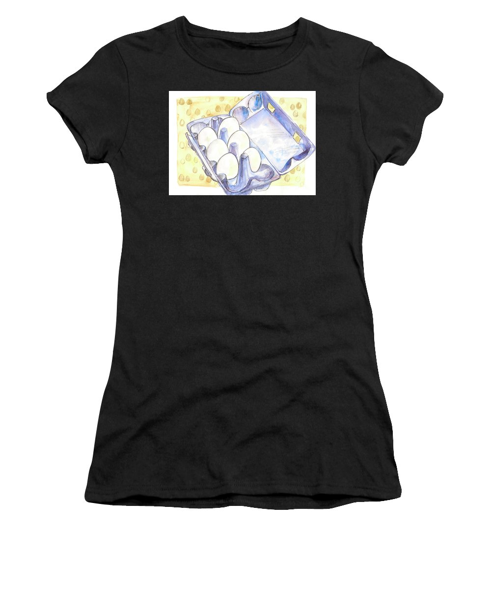 Eggs Women's T-Shirt (Athletic Fit) featuring the painting Eggs by Yana Sadykova