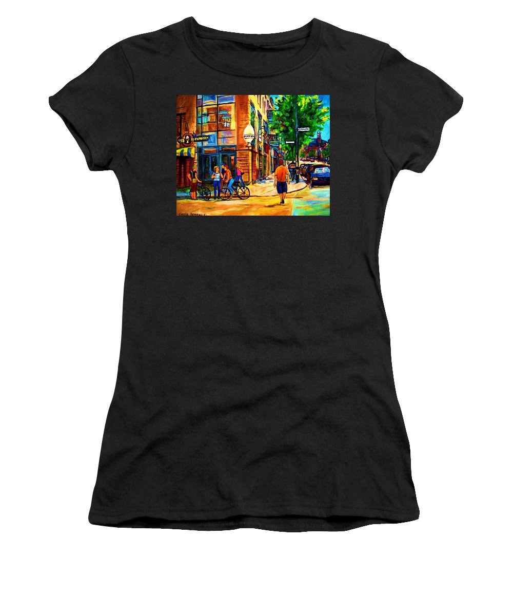 Eggspectation Cafe On Esplanade Women's T-Shirt (Athletic Fit) featuring the painting Eggspectation Cafe On Esplanade by Carole Spandau