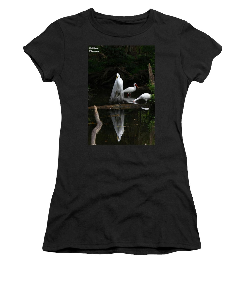 Great White Egret Women's T-Shirt (Athletic Fit) featuring the photograph Egret Reflection by Barbara Bowen