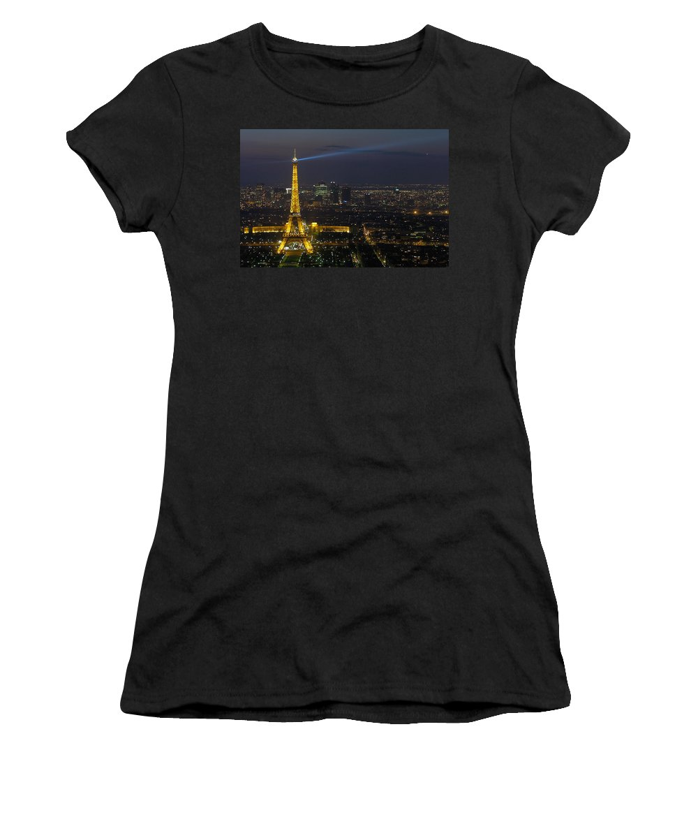 Eiffel Women's T-Shirt (Athletic Fit) featuring the photograph Eiffel Tower At Night by Sebastian Musial