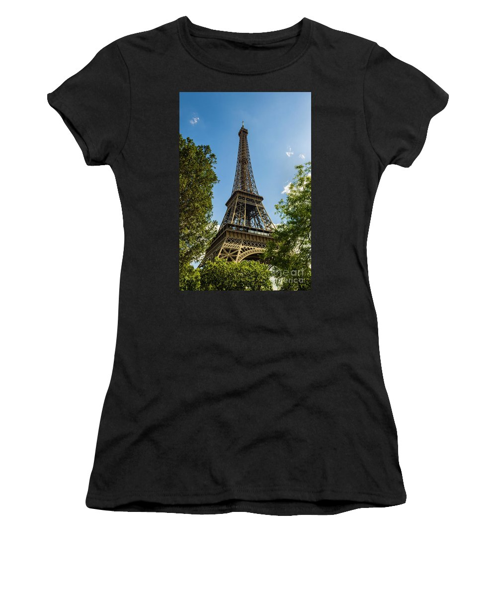 Abstract Women's T-Shirt (Athletic Fit) featuring the photograph Eiffel Tower Through Trees by Paul Warburton