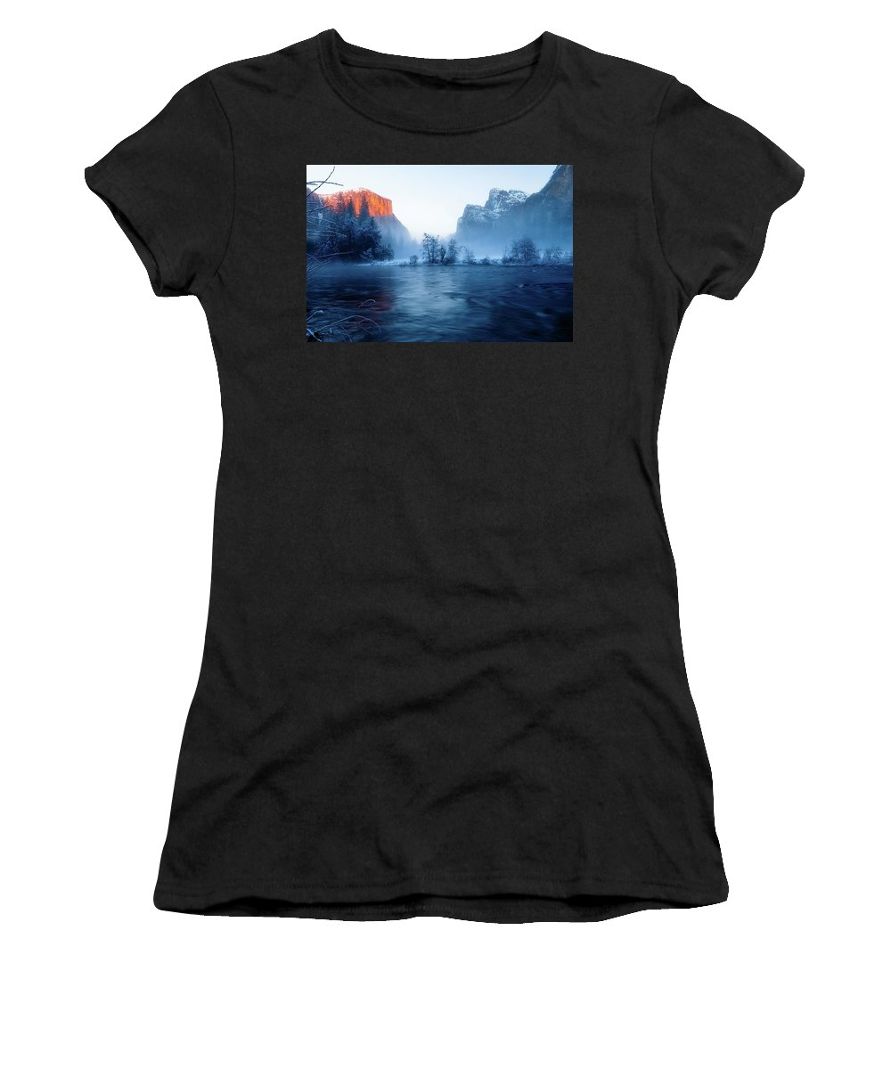 Beautiful Women's T-Shirt (Athletic Fit) featuring the photograph El Capitan At Blue Hour by Ozeias Santana