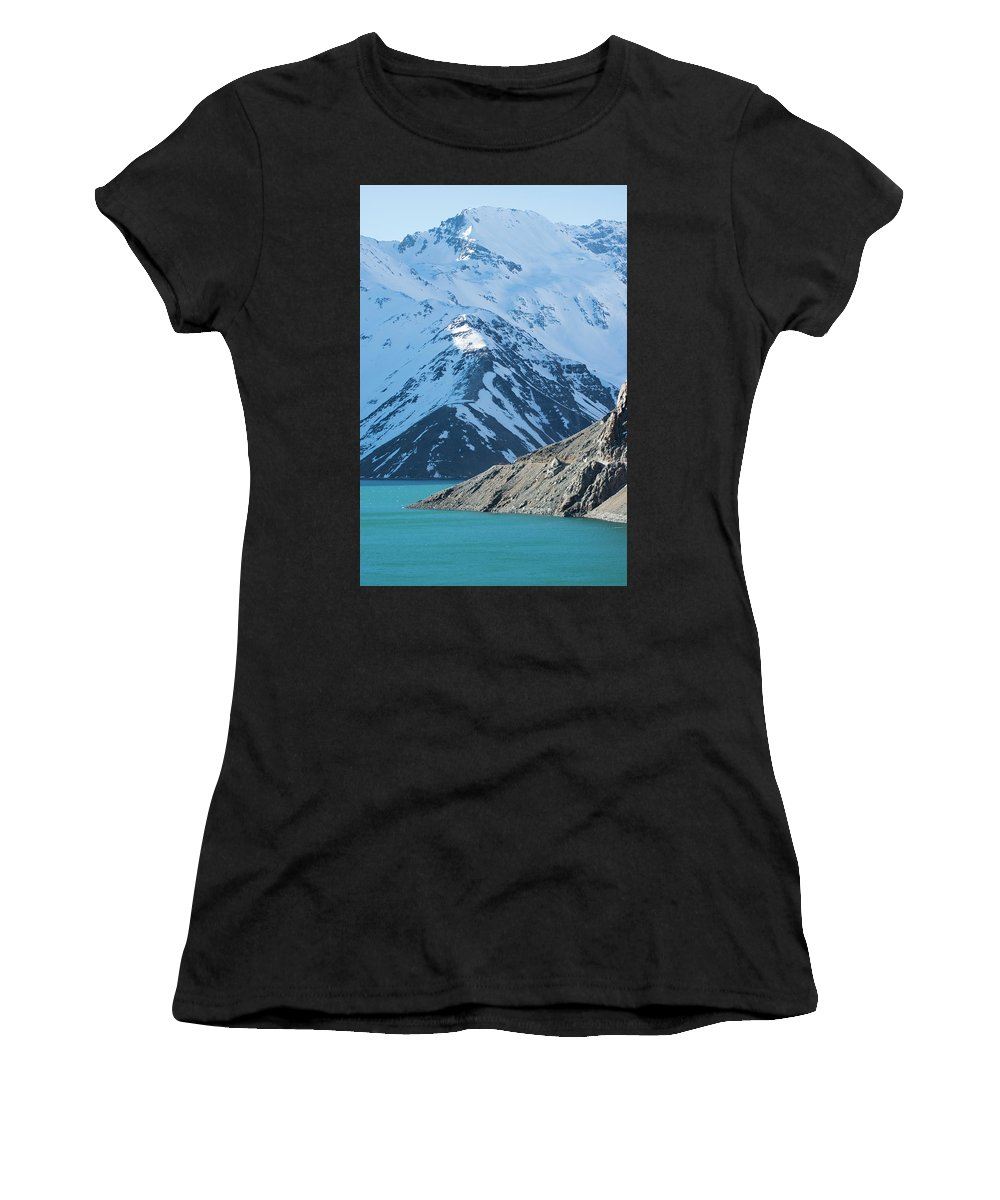 El Yeso Women's T-Shirt (Athletic Fit) featuring the photograph El Yeso Dam by Jose Miguel Bustamante