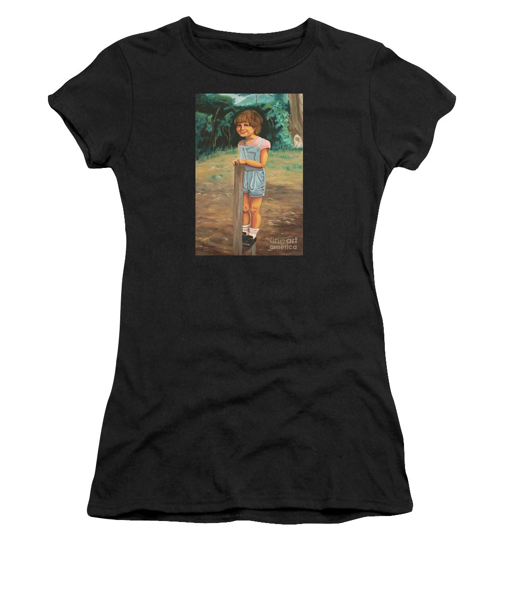 Portraits Women's T-Shirt (Athletic Fit) featuring the painting Elbio by Milagros Palmieri
