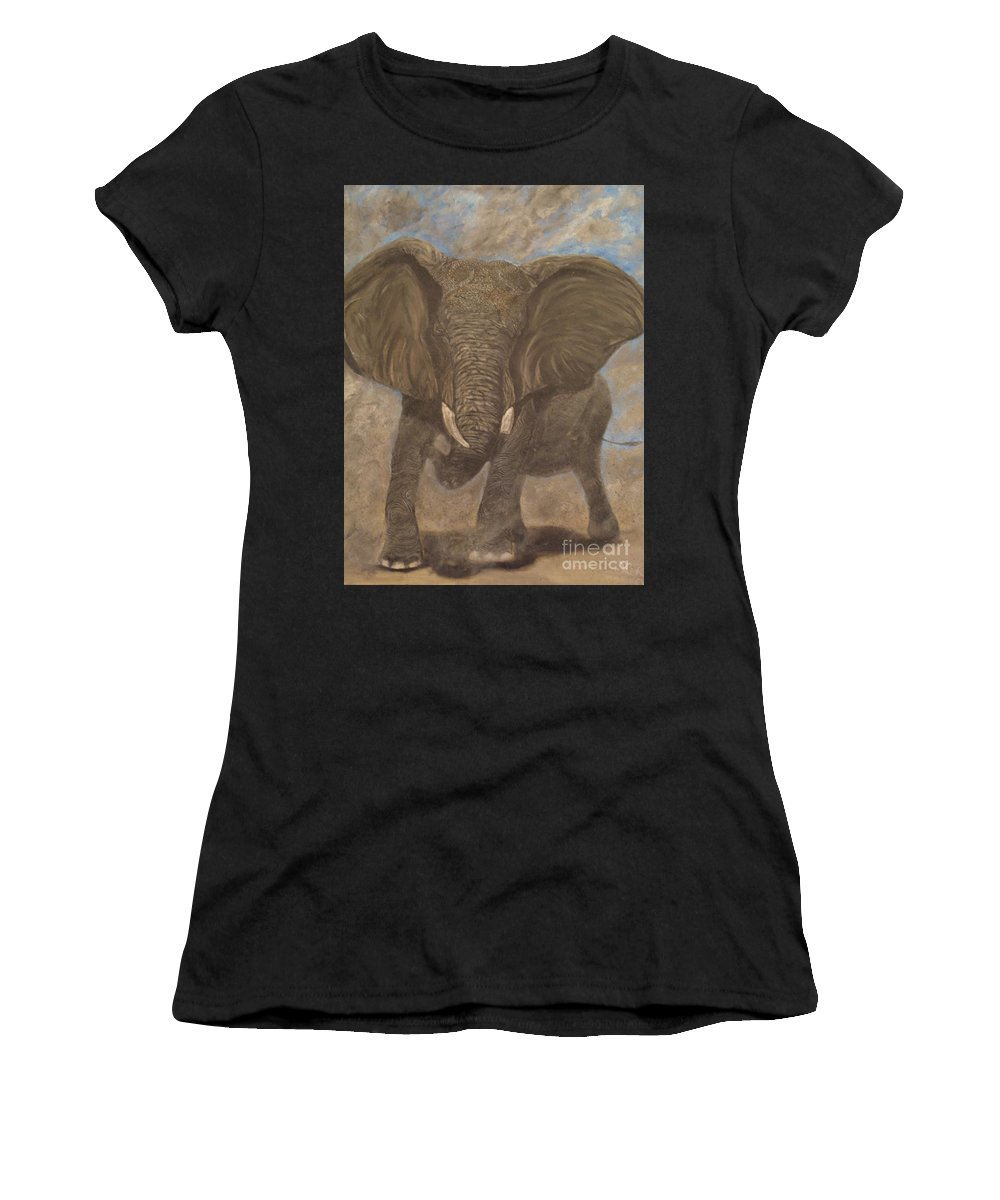 Elephant Women's T-Shirt (Athletic Fit) featuring the painting Elephant Charging by Nick Gustafson