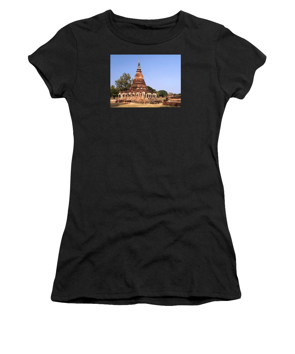36 Elephant Statues Encircle Chedi Women's T-Shirt (Athletic Fit) featuring the photograph Elephant Chedi Historical Place by Sally Weigand