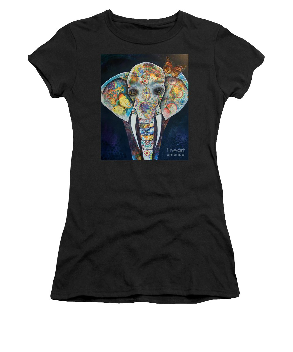 Elephant Women's T-Shirt (Athletic Fit) featuring the painting Elephant Mixed Media 2 by Reina Cottier