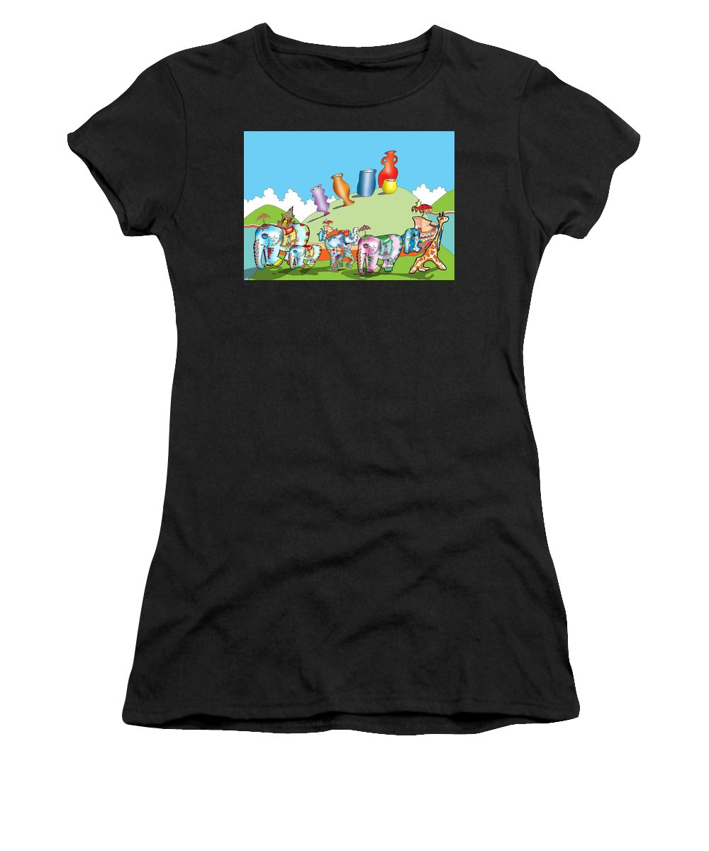 Elephants Women's T-Shirt (Athletic Fit) featuring the digital art Elephants And Urns On A Hill by Gala Hutton