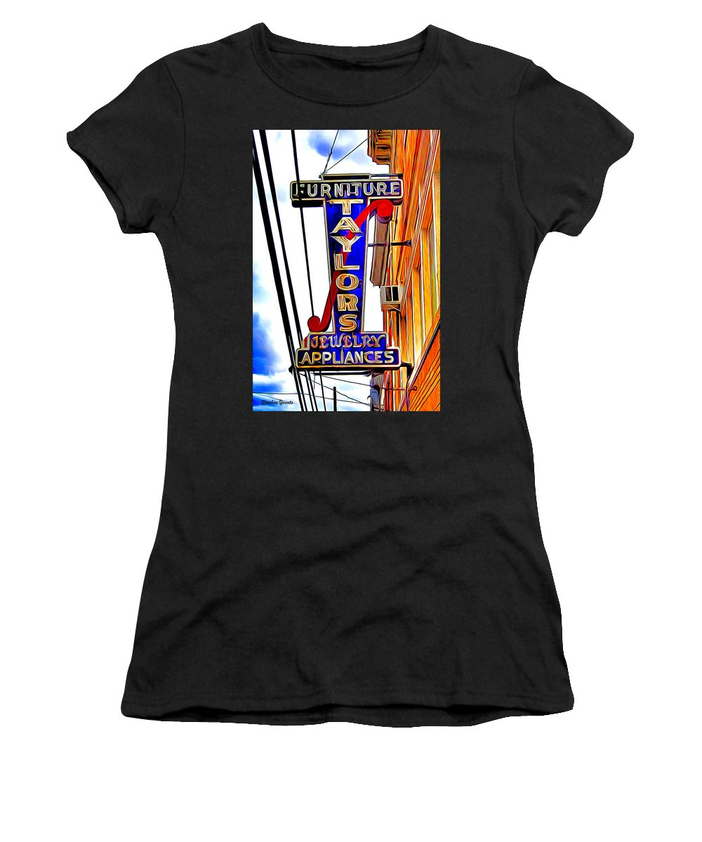 Ellicott Women's T-Shirt (Athletic Fit) featuring the digital art Ellicott City Taylor's Sign by Stephen Younts