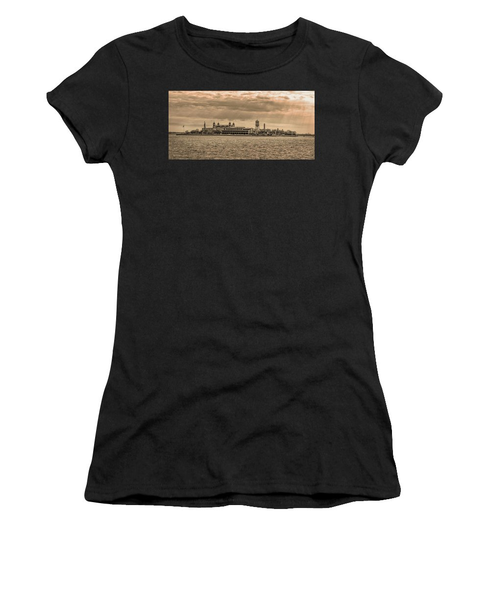Ellis Women's T-Shirt (Athletic Fit) featuring the photograph Ellis Island Panorama In Sepia by Bill Cannon