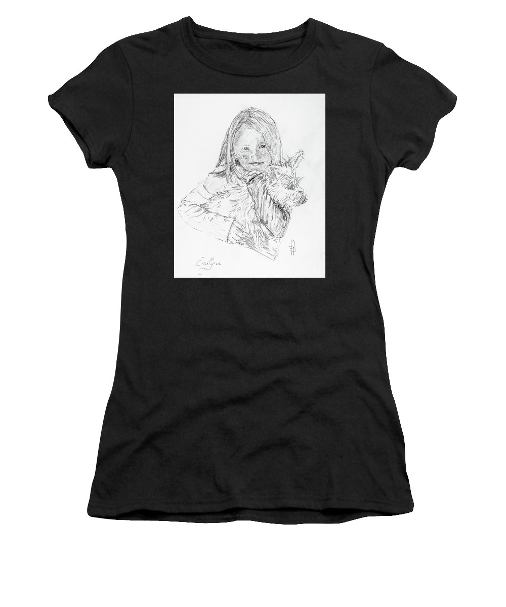 Girl Women's T-Shirt (Athletic Fit) featuring the drawing Emelyne With Er Dog by George Desire Herman