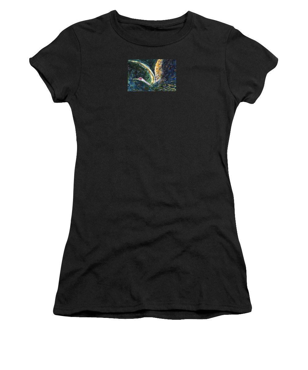 Bird Women's T-Shirt (Athletic Fit) featuring the painting Emergence by Ishwar Malleret